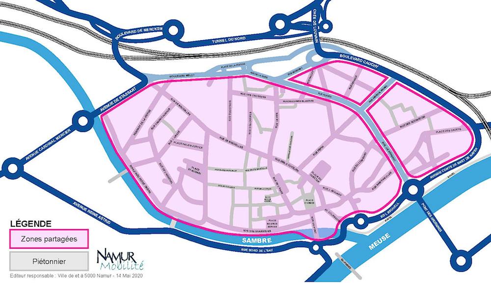 Namur-centre : une zone partagée jusqu'au 31 août