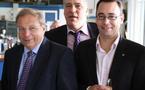 Le Ministre André Antoine à Temploux avec Tanguy Auspert et Maxime Prévot